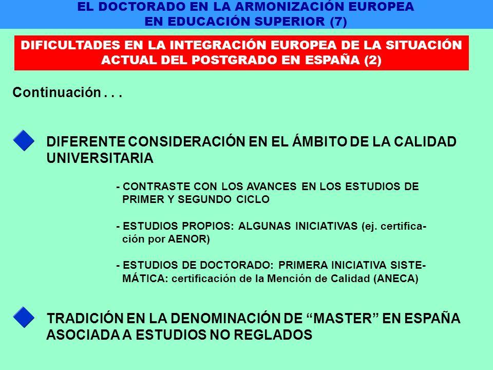 DIFERENTE CONSIDERACIÓN EN EL ÁMBITO DE LA CALIDAD UNIVERSITARIA Continuación...