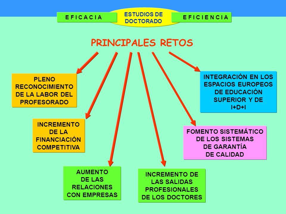 ESTUDIOS DE DOCTORADO E F I C A C I AE F I C I E N C I A PRINCIPALES RETOS PLENO RECONOCIMIENTO DE LA LABOR DEL PROFESORADO INCREMENTO DE LA FINANCIACIÓN COMPETITIVA AUMENTO DE LAS RELACIONES CON EMPRESAS INCREMENTO DE LAS SALIDAS PROFESIONALES DE LOS DOCTORES FOMENTO SISTEMÁTICO DE LOS SISTEMAS DE GARANTÍA DE CALIDAD INTEGRACIÓN EN LOS ESPACIOS EUROPEOS DE EDUCACIÓN SUPERIOR Y DE I+D+I