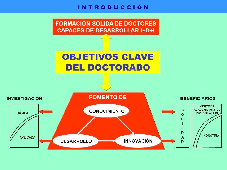 FORMACIÓN SÓLIDA DE DOCTORES CAPACES DE DESARROLLAR I+D+I DESARROLLO INNOVACIÓN CONOCIMIENTO SOCIEDADSOCIEDAD CENTROS ACADÉMICOS Y DE INVESTIGACIÓN INDUSTRIA BENEFICIARIOS BÁSICA APLICADA INVESTIGACIÓN FOMENTO DE OBJETIVOS CLAVE DEL DOCTORADO I N T R O D U C C I Ó N