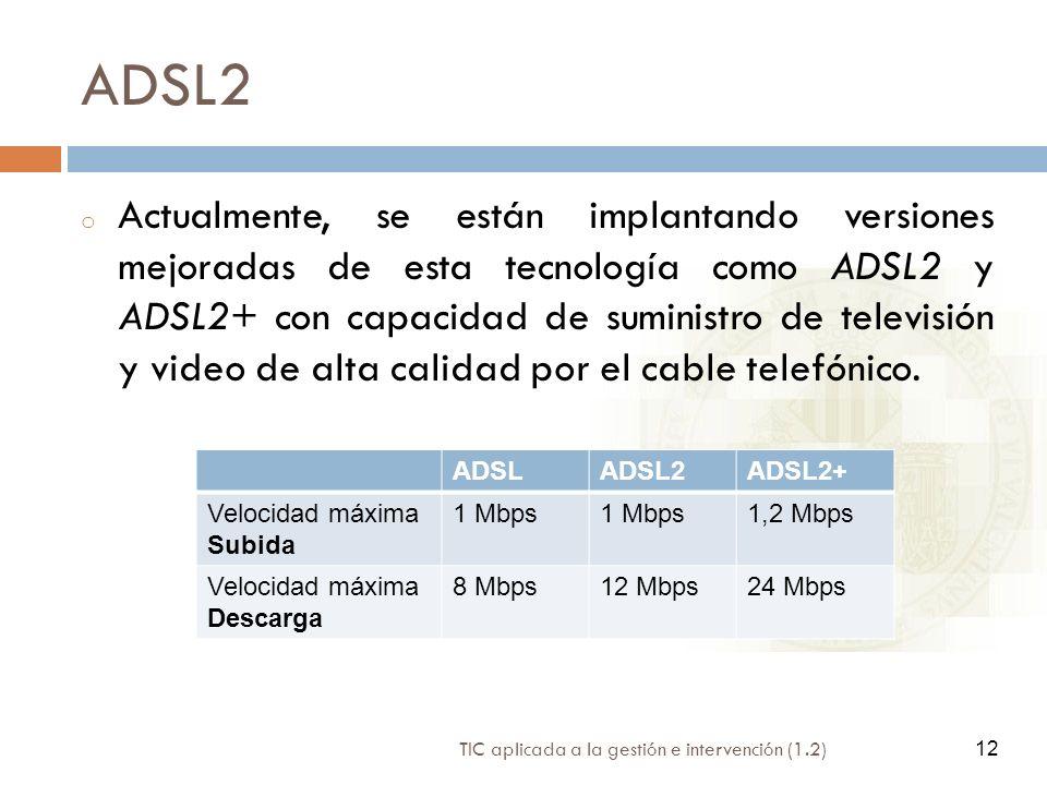 12 TIC aplicada a la gestión e intervención (1.2) 12 ADSL2 o Actualmente, se están implantando versiones mejoradas de esta tecnología como ADSL2 y ADS