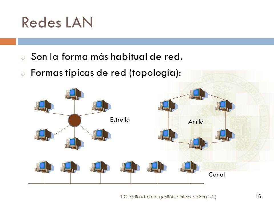 16 TIC aplicada a la gestión e intervención (1.2) 16 Redes LAN o Son la forma más habitual de red. o Formas típicas de red (topología): Estrella Anill