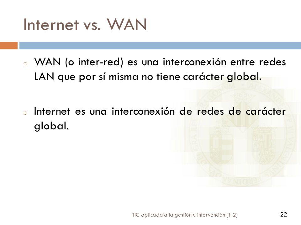 22 TIC aplicada a la gestión e intervención (1.2) 22 Internet vs. WAN o WAN (o inter-red) es una interconexión entre redes LAN que por sí misma no tie