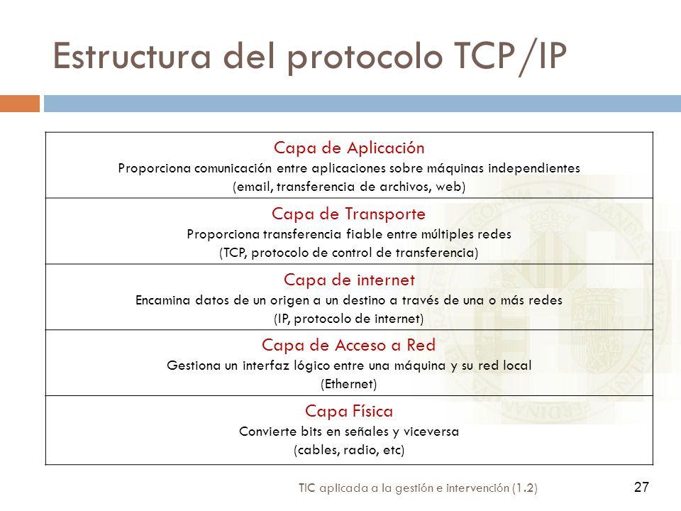 27 TIC aplicada a la gestión e intervención (1.2) 27 Estructura del protocolo TCP/IP Capa de Aplicación Proporciona comunicación entre aplicaciones so
