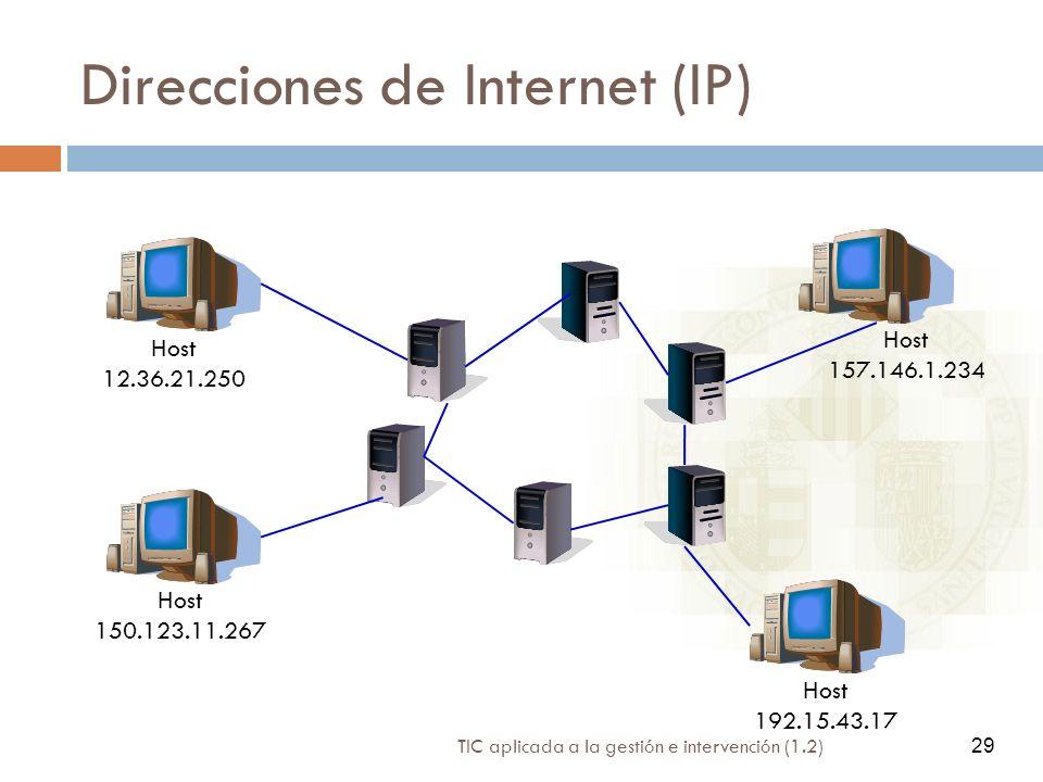 TIC aplicada a la gestión e intervención (1.2) 29 Direcciones de Internet (IP) Host 150.123.11.267 Host 157.146.1.234 Host 192.15.43.17 Host 12.36.21.