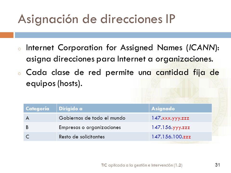 31 TIC aplicada a la gestión e intervención (1.2) 31 Asignación de direcciones IP o Internet Corporation for Assigned Names (ICANN): asigna direccione