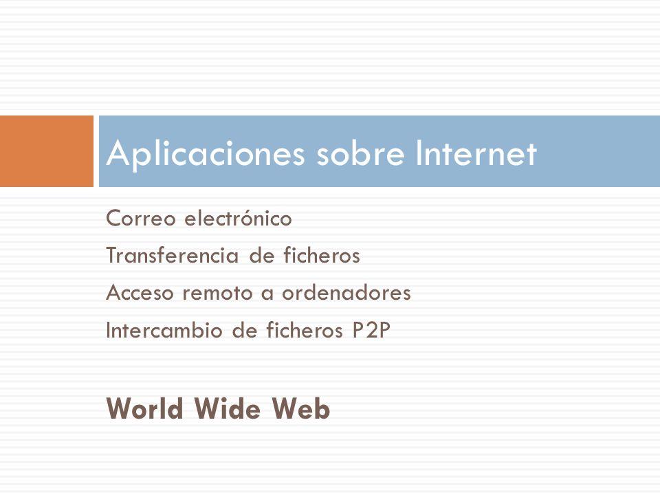 Correo electrónico Transferencia de ficheros Acceso remoto a ordenadores Intercambio de ficheros P2P World Wide Web Aplicaciones sobre Internet