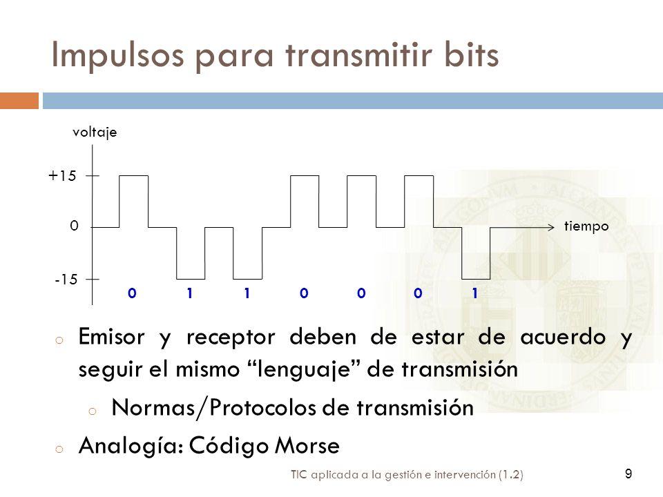 TIC aplicada a la gestión e intervención (1.2) 9 Impulsos para transmitir bits tiempo voltaje 0 +15 -15 0110001 o Emisor y receptor deben de estar de