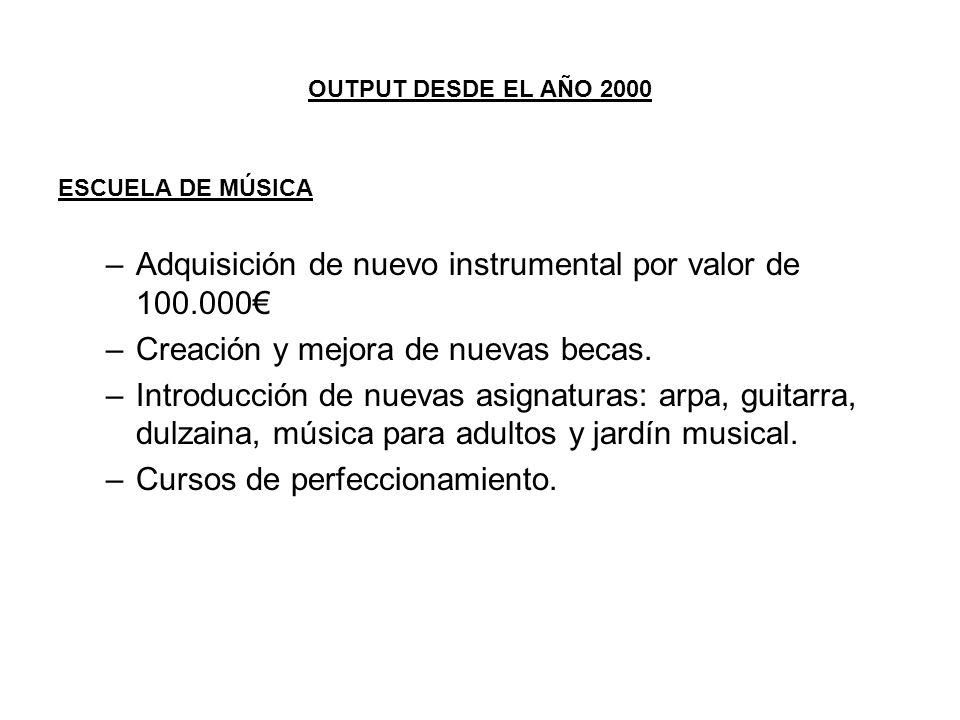 OUTPUT DESDE EL AÑO 2000 ESCUELA DE MÚSICA –Adquisición de nuevo instrumental por valor de 100.000 –Creación y mejora de nuevas becas. –Introducción d