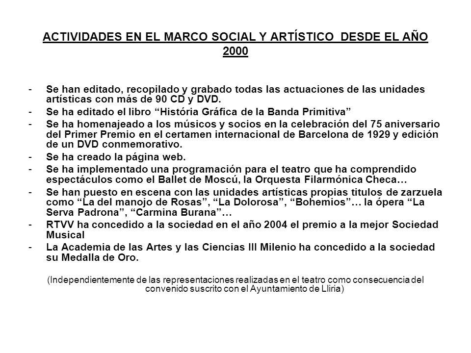 ACTIVIDADES EN EL MARCO SOCIAL Y ARTÍSTICO DESDE EL AÑO 2000 -Se han editado, recopilado y grabado todas las actuaciones de las unidades artísticas co