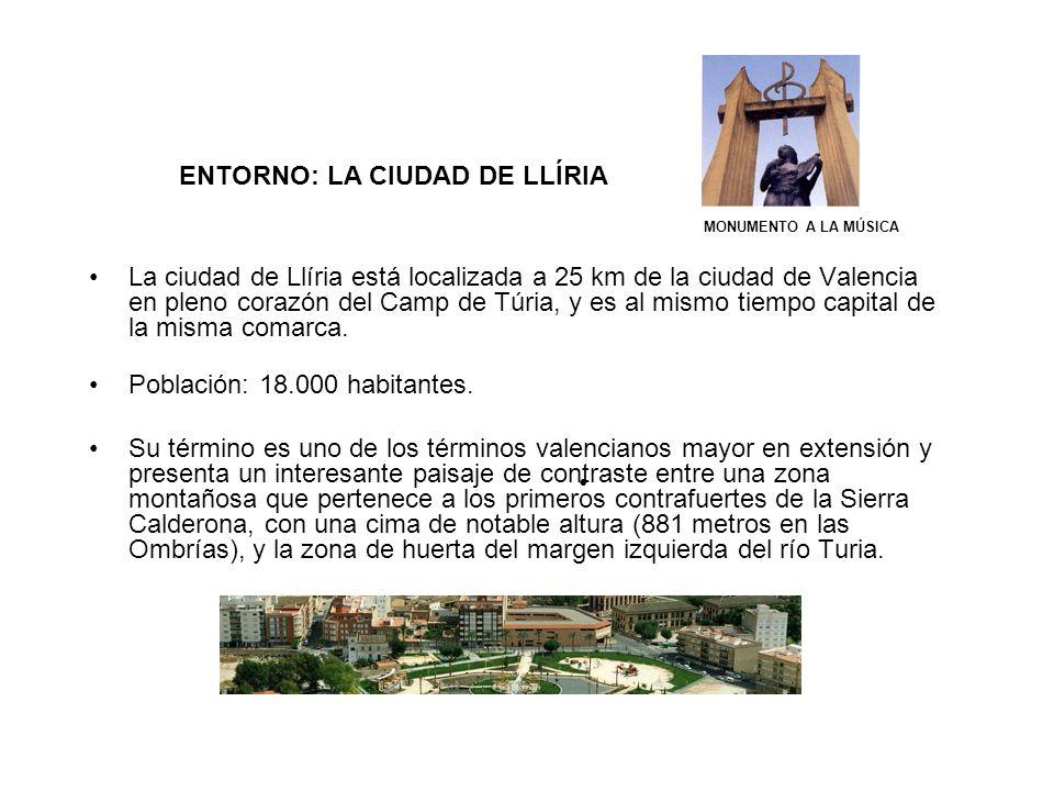 ENTORNO: LA CIUDAD DE LLÍRIA La ciudad de Llíria está localizada a 25 km de la ciudad de Valencia en pleno corazón del Camp de Túria, y es al mismo ti