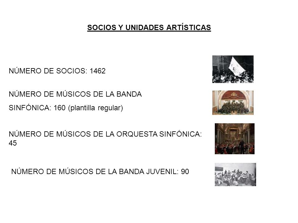 SOCIOS Y UNIDADES ARTÍSTICAS NÚMERO DE SOCIOS: 1462 NÚMERO DE MÚSICOS DE LA BANDA SINFÓNICA: 160 (plantilla regular) NÚMERO DE MÚSICOS DE LA ORQUESTA