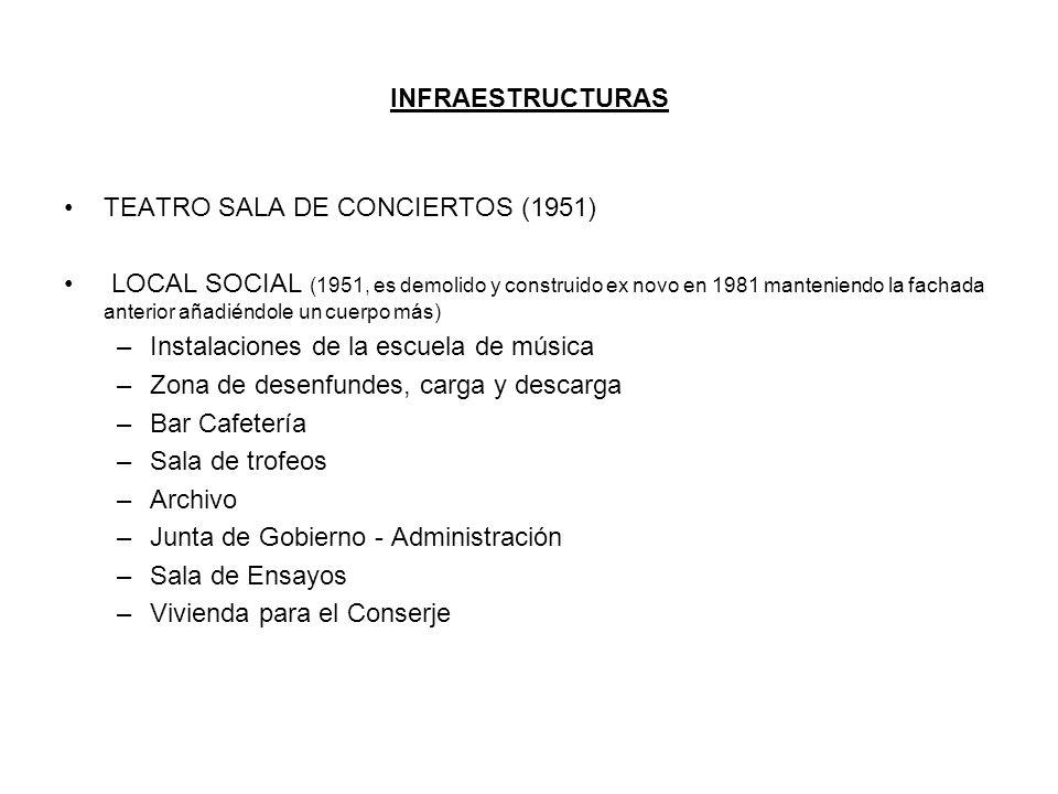 INFRAESTRUCTURAS TEATRO SALA DE CONCIERTOS (1951) LOCAL SOCIAL (1951, es demolido y construido ex novo en 1981 manteniendo la fachada anterior añadién