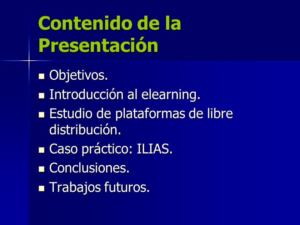Contenido de la Presentación Objetivos. Objetivos. Introducción al elearning. Introducción al elearning. Estudio de plataformas de libre distribución.