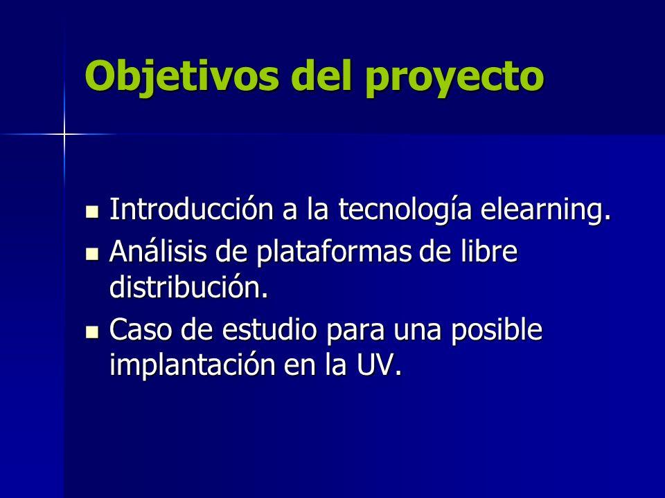 Objetivos del proyecto Introducción a la tecnología elearning. Introducción a la tecnología elearning. Análisis de plataformas de libre distribución.