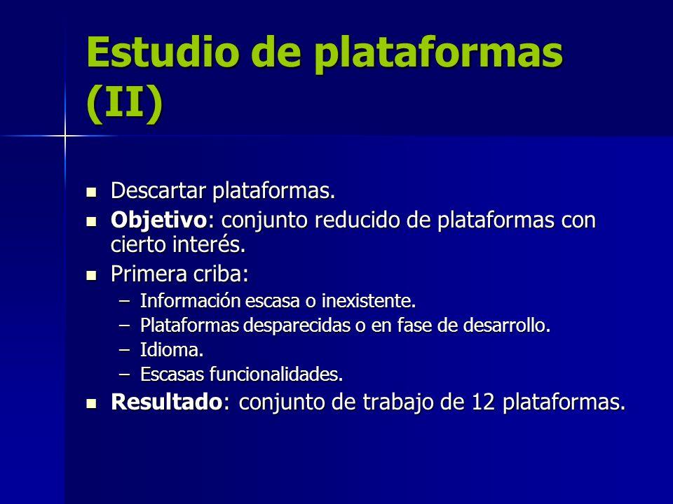 Estudio de plataformas (II) Descartar plataformas. Descartar plataformas. Objetivo: conjunto reducido de plataformas con cierto interés. Objetivo: con