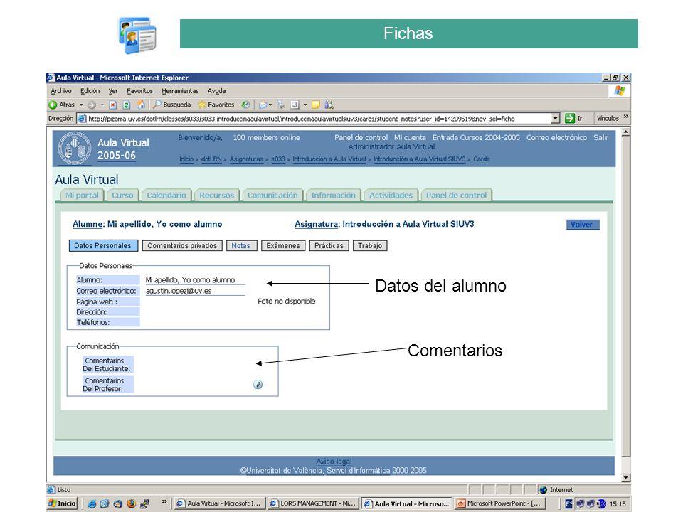 Fichas Datos del alumno Comentarios