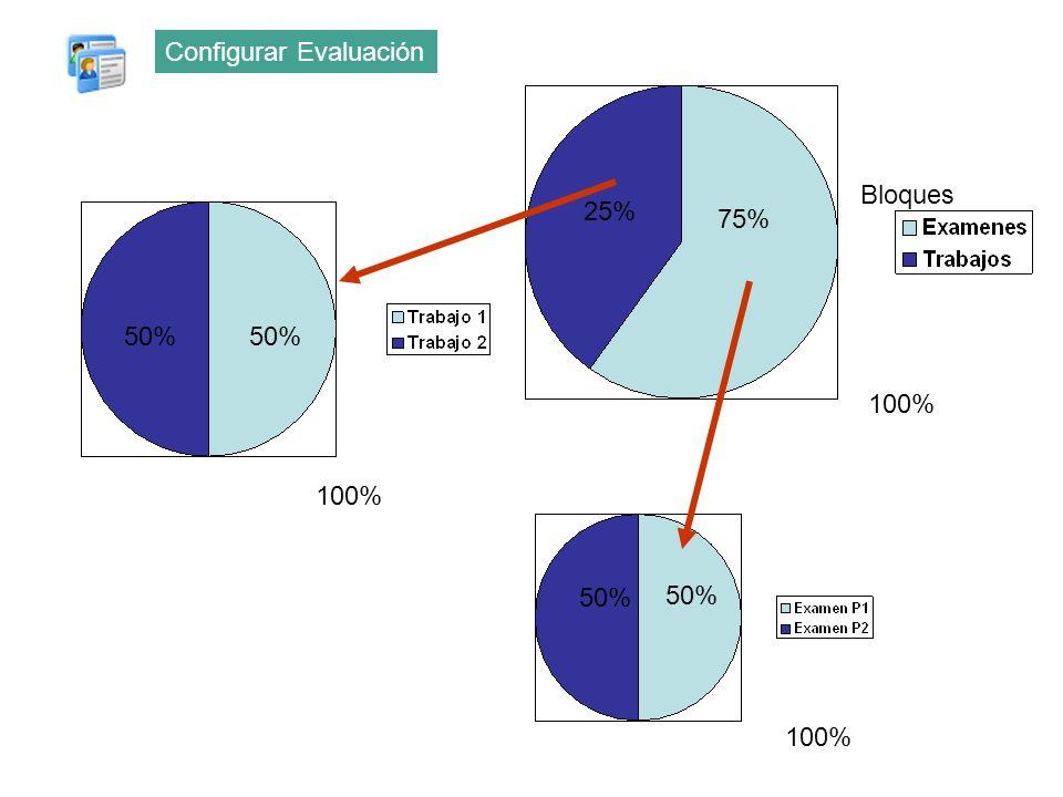 100% 50% 100% 50% 100% 75% 25% Bloques Configurar Evaluación