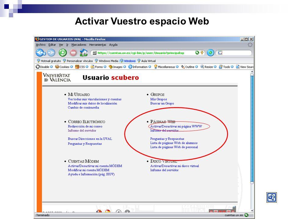 Activar Vuestro espacio Web