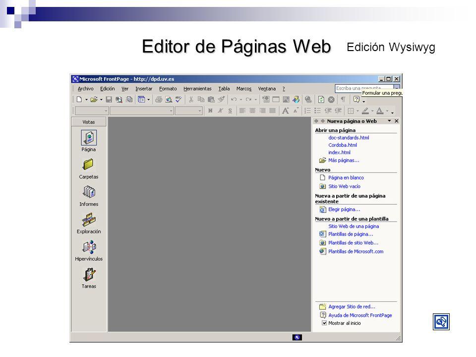 Editor de Páginas Web Edición Wysiwyg