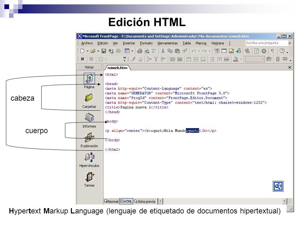 Edición HTML Hypertext Markup Language (lenguaje de etiquetado de documentos hipertextual) cabeza cuerpo