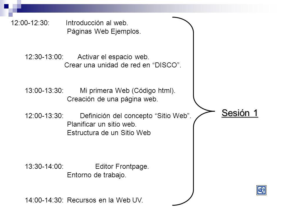 Sesión 1 12:00-12:30: Introducción al web. Páginas Web Ejemplos. 12:30-13:00: Activar el espacio web. Crear una unidad de red en DISCO. 13:00-13:30: M