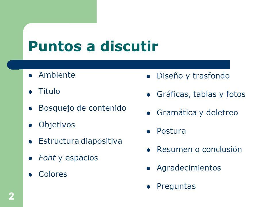 Postura Conozca las reglas de la presentación: – Formato – Tiempo – Transporte Mantenga varias copias de la presentación.