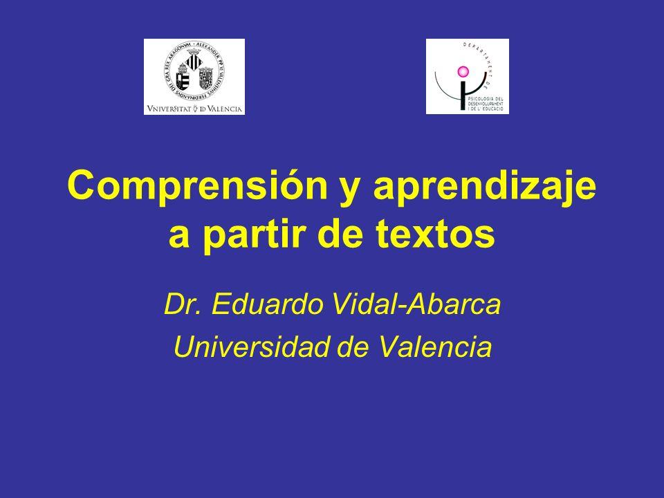 Comprensión y aprendizaje a partir de textos Dr. Eduardo Vidal-Abarca Universidad de Valencia