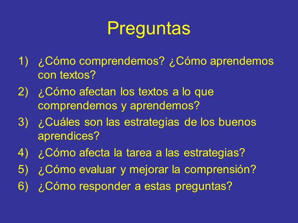 Preguntas 1)¿Cómo comprendemos? ¿Cómo aprendemos con textos? 2)¿Cómo afectan los textos a lo que comprendemos y aprendemos? 3)¿Cuáles son las estrateg