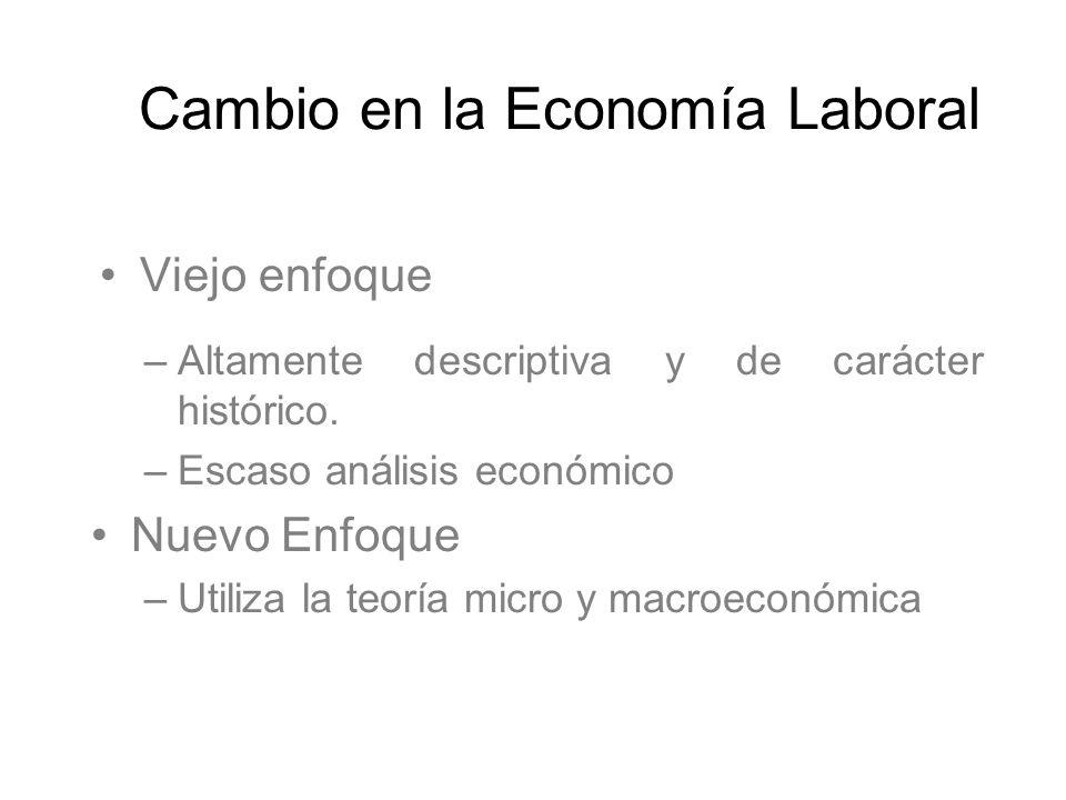 Viejo enfoque Cambio en la Economía Laboral –Altamente descriptiva y de carácter histórico. –Escaso análisis económico Nuevo Enfoque –Utiliza la teorí