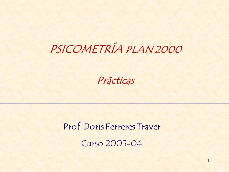 1 PSICOMETRÍA PLAN 2000 Prácticas Prof. Doris Ferreres Traver Curso 2003-04