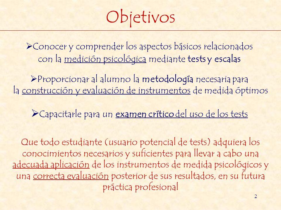 2 Objetivos Conocer y comprender los aspectos básicos relacionados con la medición psicológica mediante tests y escalas Proporcionar al alumno la meto
