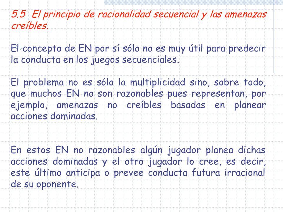 5.5 El principio de racionalidad secuencial y las amenazas creíbles. El concepto de EN por sí sólo no es muy útil para predecir la conducta en los jue