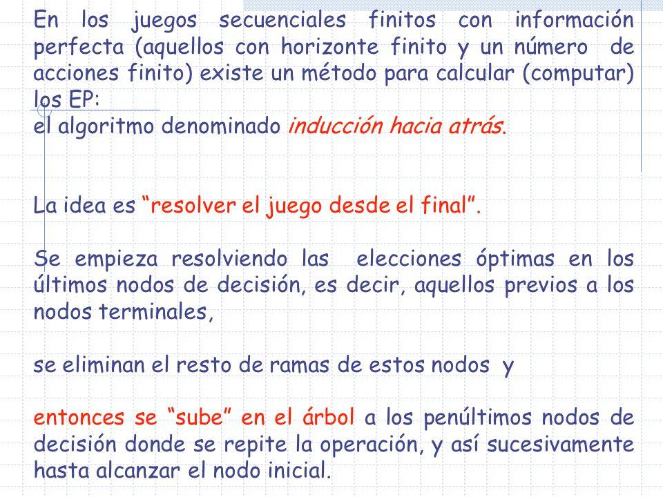 En los juegos secuenciales finitos con información perfecta (aquellos con horizonte finito y un número de acciones finito) existe un método para calcu