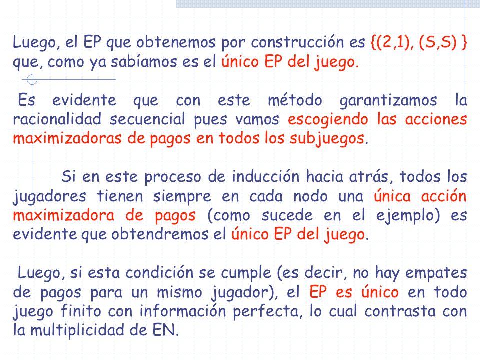 Luego, el EP que obtenemos por construcción es {(2,1), (S,S) } que, como ya sabíamos es el único EP del juego. Es evidente que con este método garanti