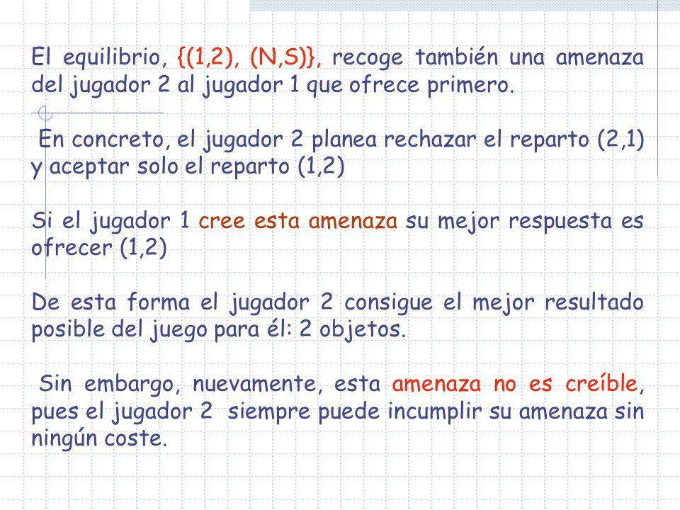 El equilibrio, {(1,2), (N,S)}, recoge también una amenaza del jugador 2 al jugador 1 que ofrece primero. En concreto, el jugador 2 planea rechazar el