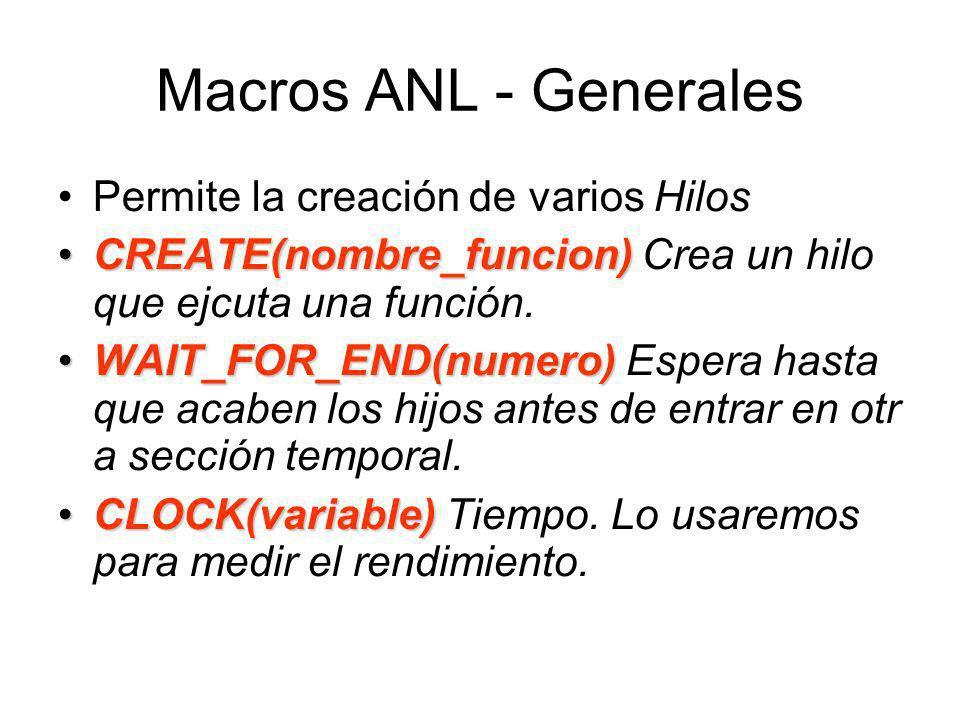 Macros ANL - Generales Permite la creación de varios Hilos CREATE(nombre_funcion)CREATE(nombre_funcion) Crea un hilo que ejcuta una función.