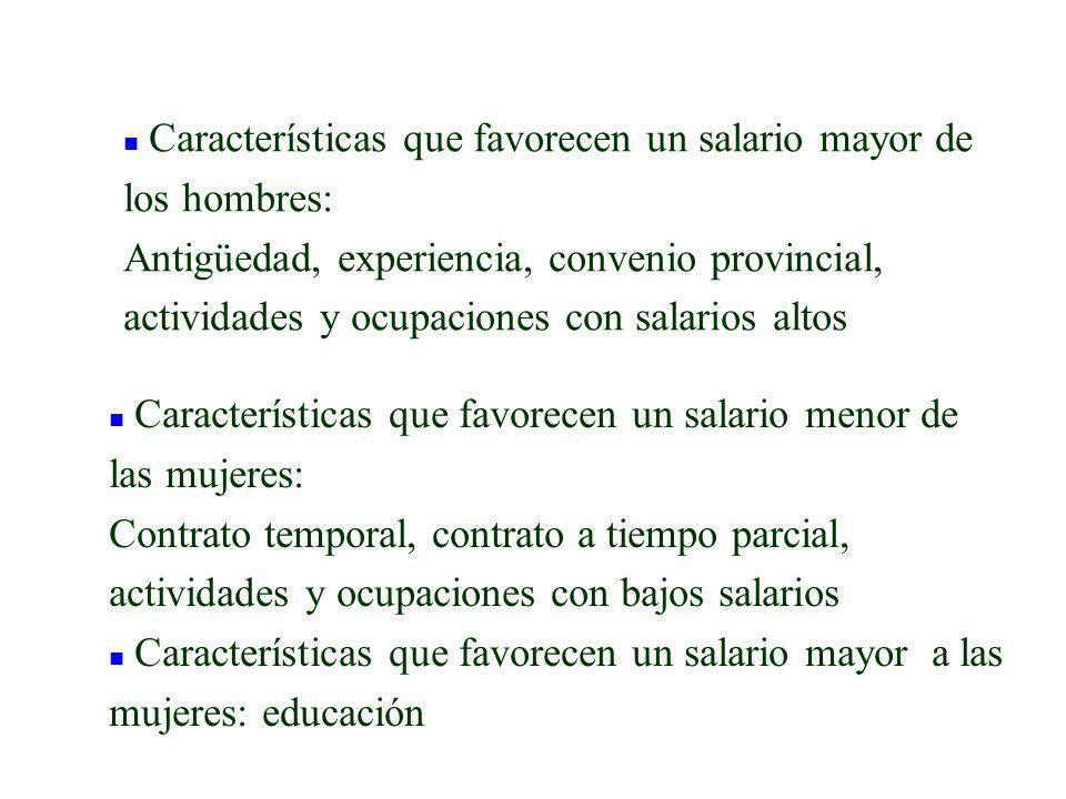 n Características que favorecen un salario mayor de los hombres: Antigüedad, experiencia, convenio provincial, actividades y ocupaciones con salarios