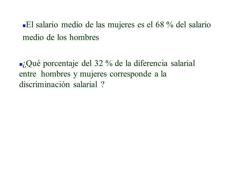 n ¿Qué porcentaje del 32 % de la diferencia salarial entre hombres y mujeres corresponde a la discriminación salarial ? n El salario medio de las muje