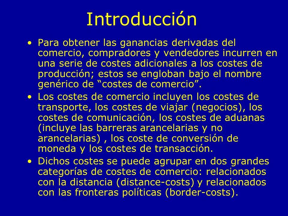 Efecto DistanciaEfecto Frontera Costes de Transporte Costes de viajar Costes de conversión de la moneda Costes de aduanas (p.