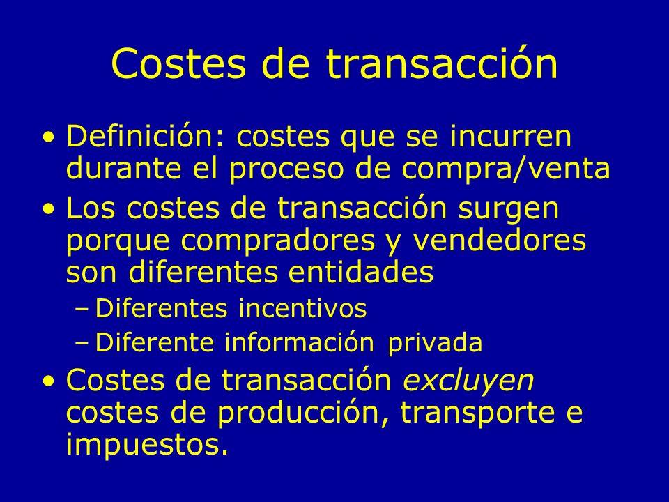 Costes de transacción Definición: costes que se incurren durante el proceso de compra/venta Los costes de transacción surgen porque compradores y vend