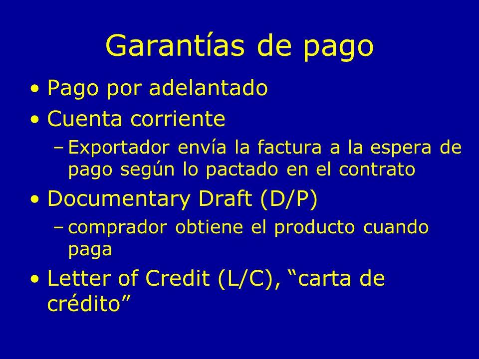 Garantías de pago Pago por adelantado Cuenta corriente –Exportador envía la factura a la espera de pago según lo pactado en el contrato Documentary Dr
