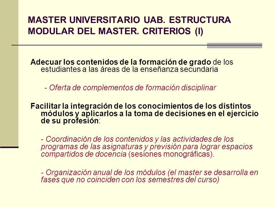 MASTER UNIVERSITARIO UAB. ESTRUCTURA MODULAR DEL MASTER. CRITERIOS (I) Adecuar los contenidos de la formación de grado de los estudiantes a las áreas