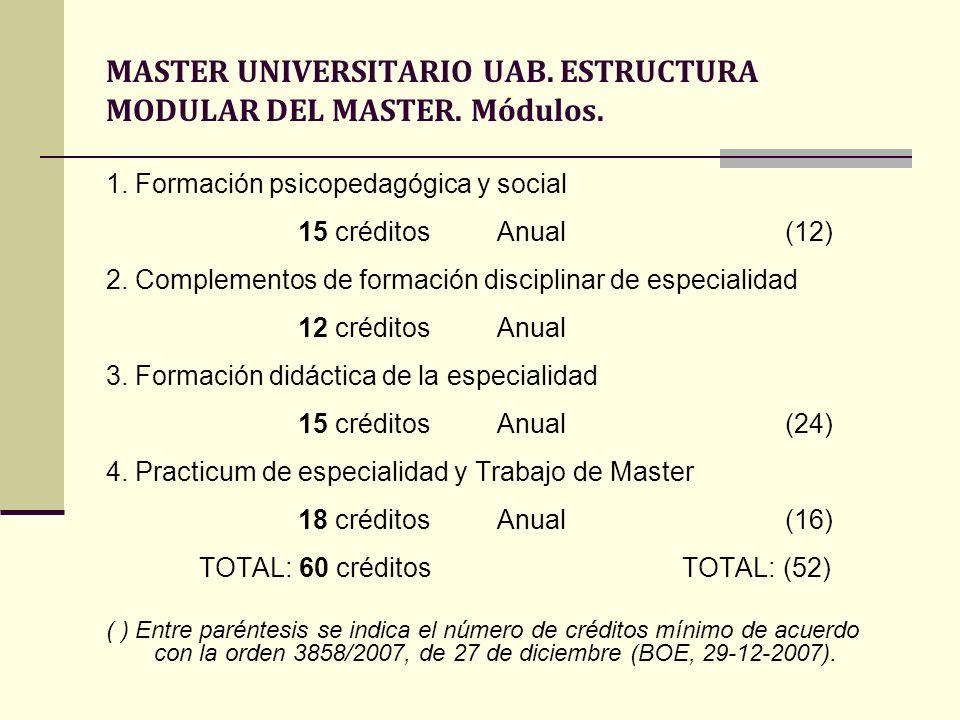 MASTER UNIVERSITARIO UAB. ESTRUCTURA MODULAR DEL MASTER. Módulos. 1. Formación psicopedagógica y social 15 créditos Anual (12) 2. Complementos de form