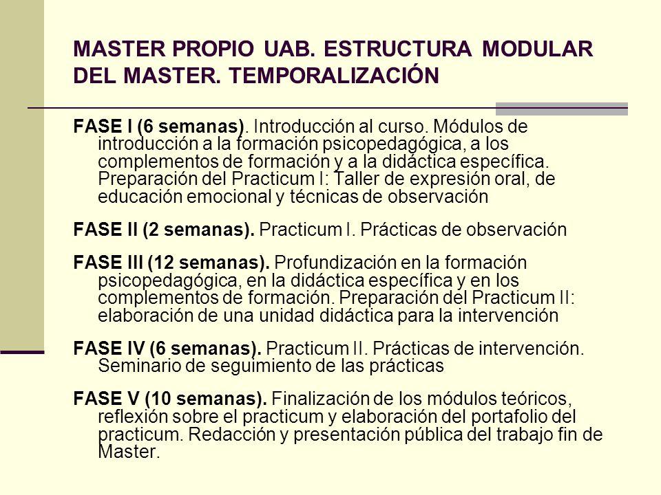 MASTER PROPIO UAB. ESTRUCTURA MODULAR DEL MASTER. TEMPORALIZACIÓN FASE I (6 semanas). Introducción al curso. Módulos de introducción a la formación ps
