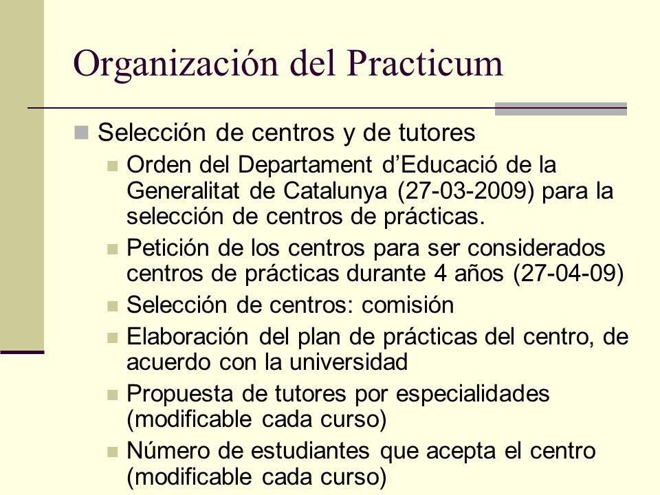 Organización del Practicum Selección de centros y de tutores Orden del Departament dEducació de la Generalitat de Catalunya (27-03-2009) para la selec