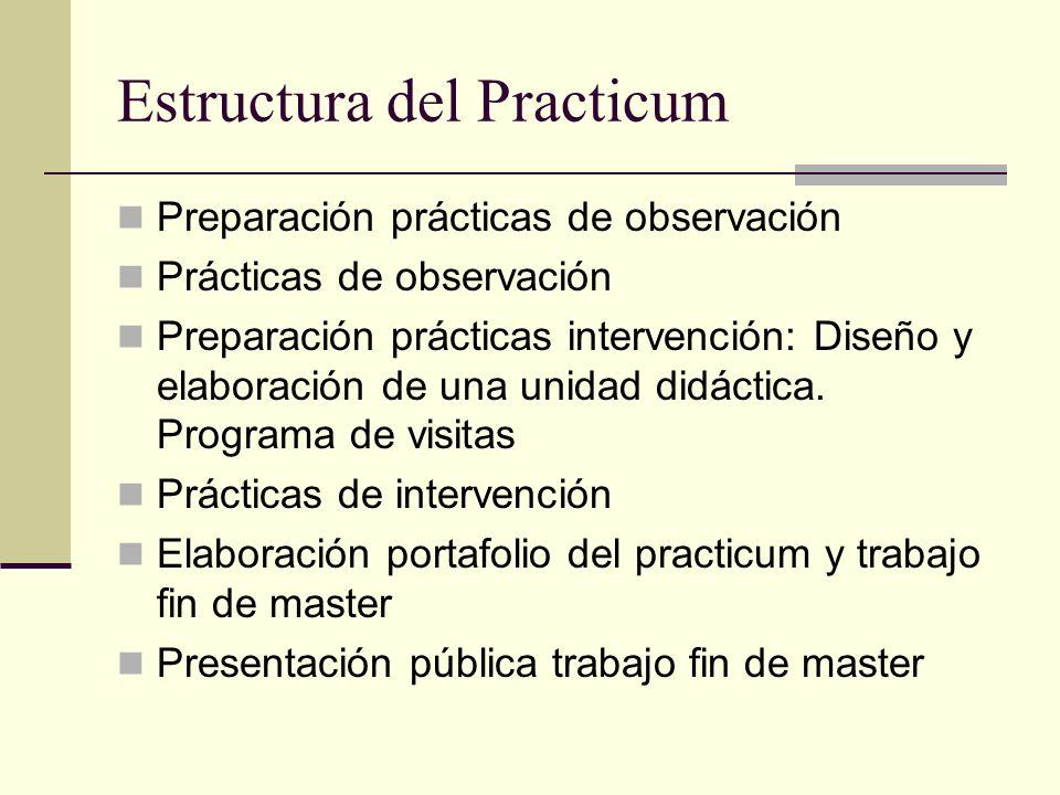 Estructura del Practicum Preparación prácticas de observación Prácticas de observación Preparación prácticas intervención: Diseño y elaboración de una