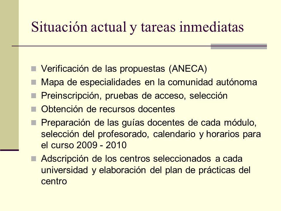 Situación actual y tareas inmediatas Verificación de las propuestas (ANECA) Mapa de especialidades en la comunidad autónoma Preinscripción, pruebas de