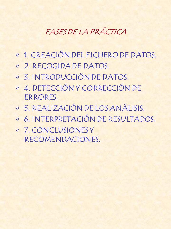 FASES DE LA PRÁCTICA 1. CREACIÓN DEL FICHERO DE DATOS. 2. RECOGIDA DE DATOS. 3. INTRODUCCIÓN DE DATOS. 4. DETECCIÓN Y CORRECCIÓN DE ERRORES. 5. REALIZ