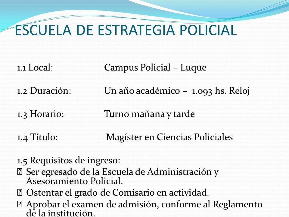 ESCUELA DE ESTRATEGIA POLICIAL 1.1 Local:Campus Policial – Luque 1.2 Duración:Un año académico – 1.093 hs. Reloj 1.3 Horario:Turno mañana y tarde 1.4