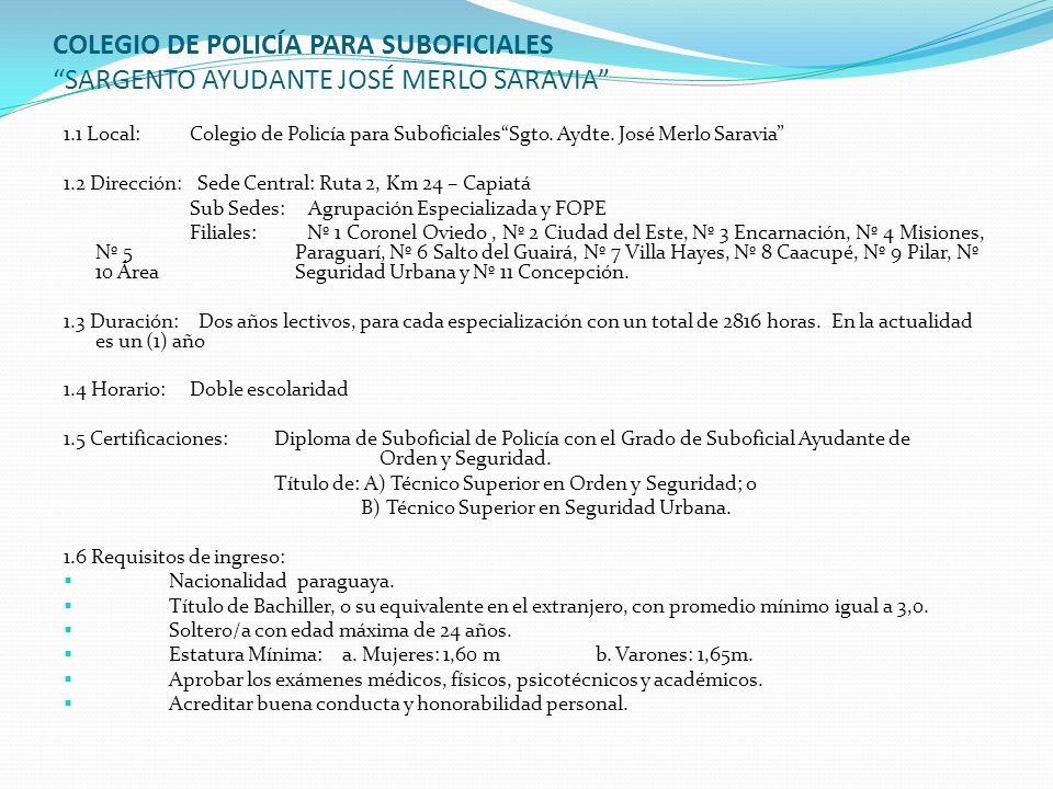 COLEGIO DE POLICÍA PARA SUBOFICIALES SARGENTO AYUDANTE JOSÉ MERLO SARAVIA 1.1 Local: Colegio de Policía para SuboficialesSgto. Aydte. José Merlo Sarav